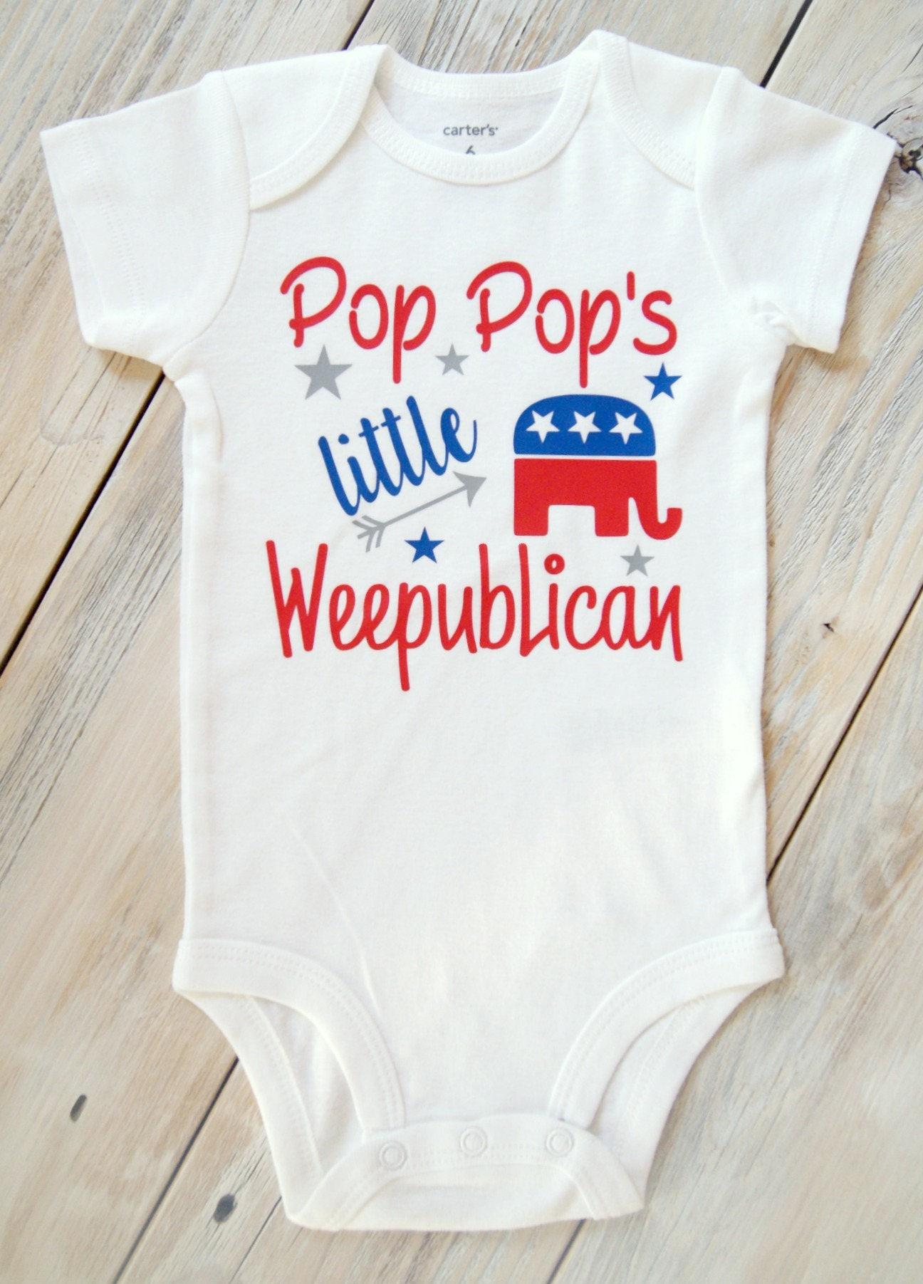Pop Pop s little Weepublican Baby Girl or Boy esie America