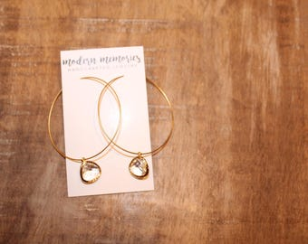 Gold Hoop Crystal Earrings | Gold Hoops, Thin Gold Hoops, Hoop Earrings, Dainty Gold Hoop, Dainty Earrings