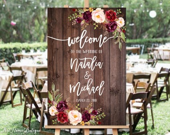 Welcome Wedding Sign, Rustic Welcome Wedding Sign, Welcome To Our Wedding Sign, Wood and Burgundy Flowers, Printable Sign, Digital File W85