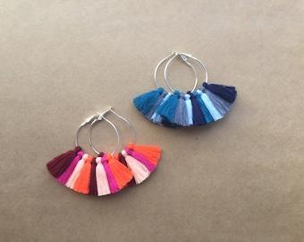 Large Silver Hoop - multi-colour cotton fringe tassel earrings