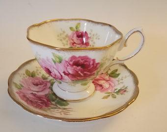 Vintage Royal Albert Cup And Saucer American Beauty Bone China England