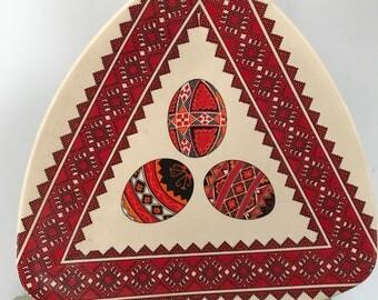 Ukrainian Ceramic Made In Canada Triangle Plate