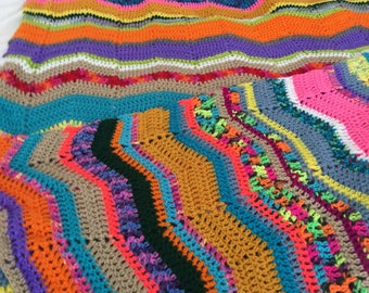 "Handmade Multicolor Healing Afghan - Crocheted Chevron Blanket: ""Acceptance"""