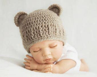 Crochet baby hat with bear ears, teddy bear hat, flax color, for newborn