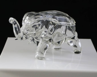 Vintage Clear Glass Elephant Candy or Jewelry Dish with Lid Collectible Figurine