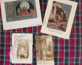 Antique religious Christmas cards