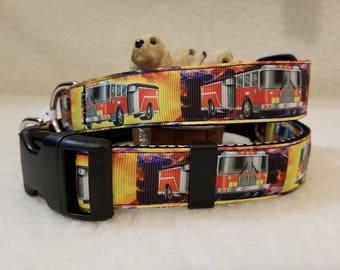 Fire Trucks Handmade Dog Collar 1 Inch Wide