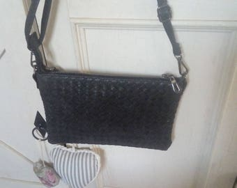 Black braid shoulder pouch