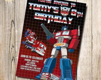 Transformers G1 Optimus Prime Birthday Card, Customized Birthday Theme, Birthday Invite, Card Template, Digital Download, Editable Text