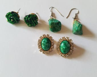 Gorgeous Emerald/Deep Green Vintage Earrings-Green Gemstone Earrings with Surrounding Rhinestones-Green Beaded Knot Studs-Boho Green Stones