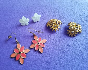 Classic 1960s/1970s Floral Fashion Earrings-2 Pairs for Pierced Ears and 1 Pair Of Clip On Earrings-White, Yellow and Coral Floral Earrings