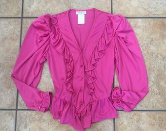 1970's Frederick's of Hollywood Ruffled Blouse (Size Medium) • Vintage Top