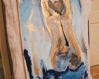 Blue abstract/ Modern Figure Painting/ Figure Art