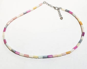 Multicolor Tube Beads Necklace - Everyday Necklace- Bohemian Hobo Style Necklace