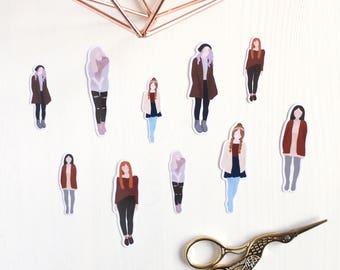 Cozy winter girl Planner stickers