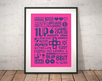 Arcade Game Text Interface Graphics Poster Print