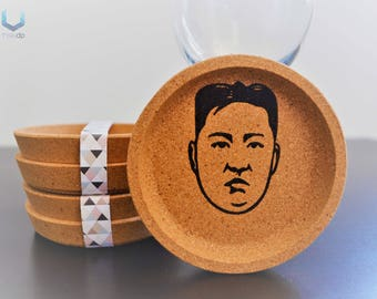 Kim Jong-un Coasters | Set of 4 | Exclusive cork coasters