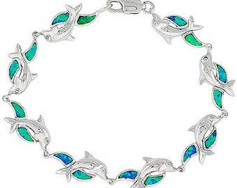 Blue Opal Sterling Silver Dolphin Charm Bracelet