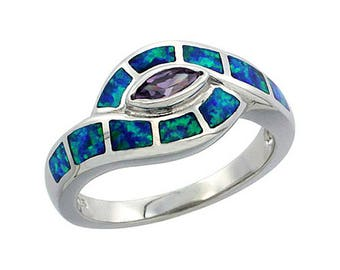 Sterling Silver Blue Opal Statement Ring Amethyst