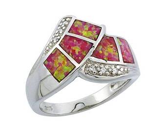 Sterling Silver Pink Opal Statement Ring CZ Accent