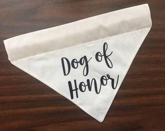 Dog of Honor Personalized Dog Wedding Bandana   Slip Over the Collar Dog Bandana   Cat Bandana   Save the Date   Engagement Photos