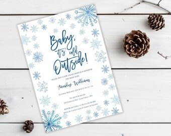 Baby It's Cold Outside Snowflake Baby Shower Invitation, Editable Template, Winter, Snow, Christmas Shower Invite, DIY printable, MAM110
