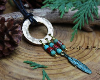 Hammered Bronze Necklace, Southwestern, Native American, Beaded Bronze Necklace, Verdigris, Feather Necklace, Womens Necklace, Turquoise