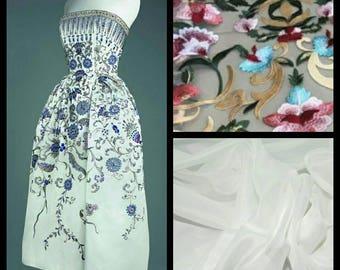 Custom Made 1950's Dior Strapless Floral Lace Taffeta Dress