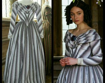 Custom Made Jane Eyre Purple Striped Victorian Ball Gown