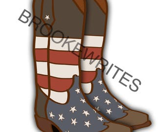 Instant Download - American Cowboy Boots (All Proceeds to Las Vegas Victims Fund)
