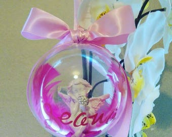 Memorial Bauble- christmas tree bauble angel cherub remembrance personalised Xmas loved ones feathers