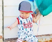 Surfin USA Surfboard Romper Beach Boys July 4th Baby Toddler Boy Girl Harem Tank Romper Birthday Summer Outfit Red White Blue