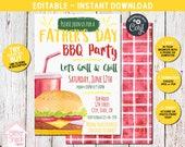 Father's Day BBQ Invitation, Father's Day Invitation, Father's Day Party, BBQ Party Invitation, Bbq Invitation, Backyard Bbq, EDITABLE