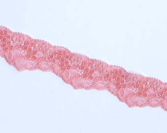 1 m of lingerie elastic lace trim in pink