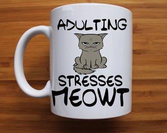 Cat pun mug, funny mug, pun, gift for her, gift for him, personalised mug, coffee mug, car lover gift, personalised gift, christmas gift,