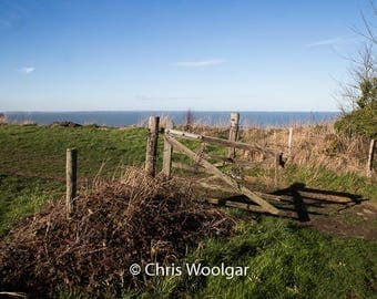 Broken Gate to Field at Cliff Top, Fine Art, Wall Art, photograph print