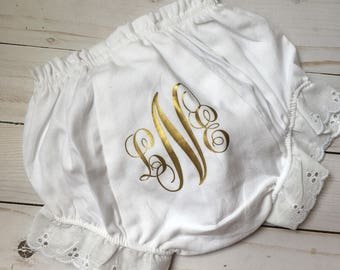 Personalized baby bloomers, monogrammed baby bloomers, monogrammed diaper cover