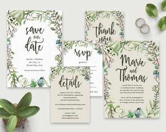 Printable Wedding Invitation Set, Rustic wedding invitation, Australian Native wedding, Botanical, Save the Date, Native flowers
