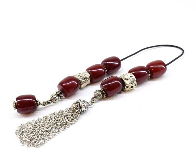 Red Begleri, Burgundy color, Acrylic Faturan beads, Small Worry Beads, Handmade Chain Tassel, Relaxation, Elegant gift, Stress Relief Beads