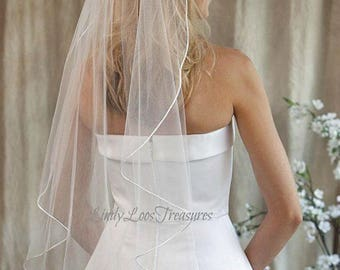 1T 1 Layer  Satin Ribbon Edge  Veil, White Tulle Veil, White Wedding Veil, Wedding Veil, White Wedding Veil,