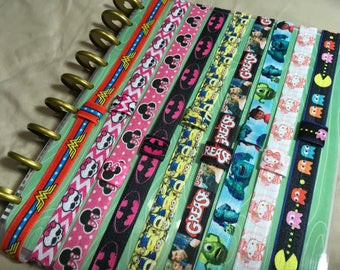 Characters PLANNER BAND:Happy Planner Planner Band,Planner accessories, Mini, Custom made, Minions, Monsters, Wonder Woman, Elastic Band