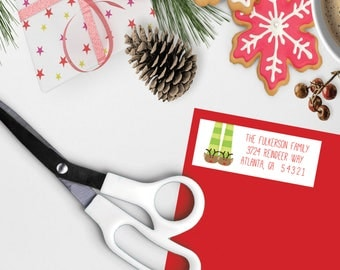 Personalized Return Address Labels, Reindeer Socks