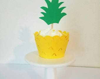 Pineapple cupcake toppers,pineapple cupcake wrapper set, cupcake combo set,  cupcake wrapper and topper set