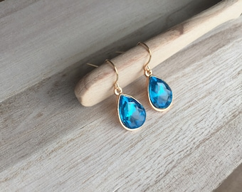 Sapphire moon blue Crystal / Gold Teardrop Earrings March  Crystal dangle  Earrings  birthstone  Earrings - Bridesmaid Gift Jewelry