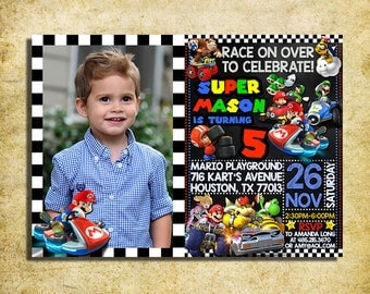 Mario Kart Invitation - Mario Kart Birthday Party Chalkboard Invite With Photo - Printable And Digital File