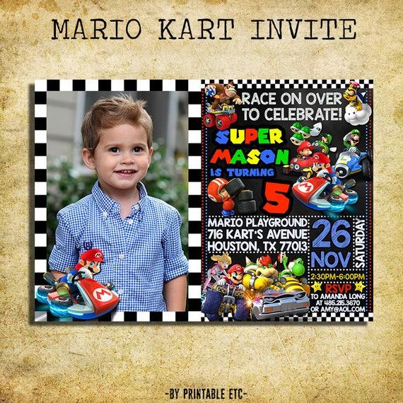 Mario Kart Invitation Mario Kart Birthday Party Chalkboard