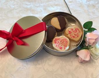 Valentine's Day Spritz Cookies in a Cookie Tin, Assorted Valentine Sugar Cookies, Valentine Cookie Assortment, Nut Free Valentine Cookie
