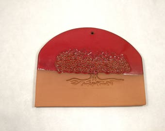 Red decorative ceramic wall plate