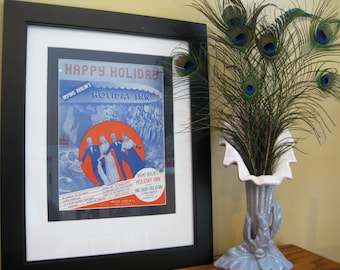 """Classic Hollywood!  Original Sheet Music, """"Happy Holiday,"""" Matted to 14 x 18 inches, 1942, """"HOLIDAY INN,"""" Starring Bing Crosby, Fred Astaire"""