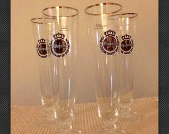 4 Warsteiner .4L Tulip Fluted German Beer Glasses-Gold Rimmed-Premium Verum